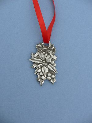 Poinsettia Christmas Ornament - Lead Free Pewter