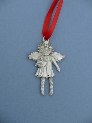 Raggedy Ann Christmas Ornament - Lead Free Pewter