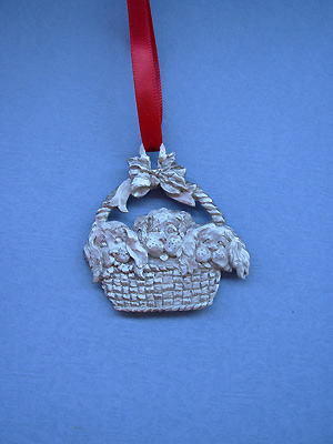 Puppies/ Basket Christmas Ornament - Lead Free Pewter