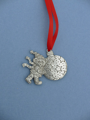 Teddy & Ornament Christmas Ornament - Lead Free Pewter