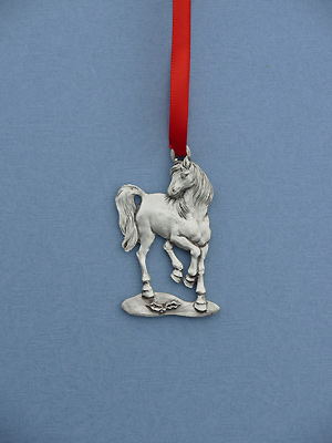 Horse Christmas Ornament - Lead Free Pewter