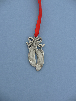 Ballet Slippers Christmas Ornament - Lead Free Pewter
