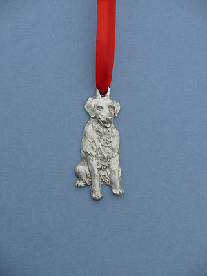 Golden Retriever Christmas Ornament - Lead Free Pewter