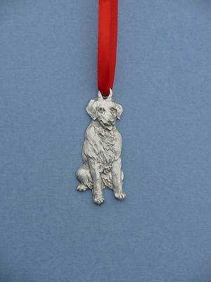 Golden Retriever Christmas Ornament - Lead Free Pewter