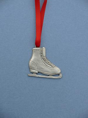 Figure Skate Christmas Ornament - Lead Free Pewter