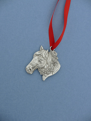 Horse Head Christmas Ornament - Lead Free Pewter