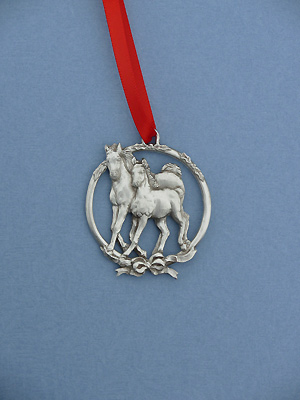 Mare /Foal Christmas Ornament - Lead Free Pewter