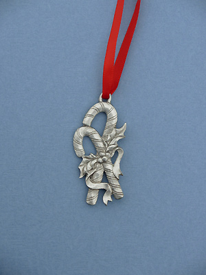 Double Candy Cane Christmas Ornament - Lead Free Pewter