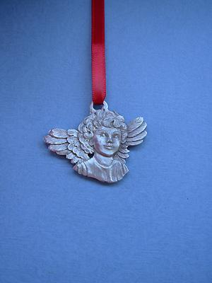 Angel Head Christmas Ornament - Lead Free Pewter