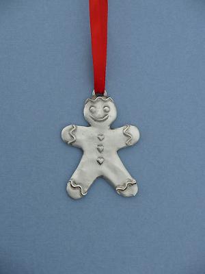 Gingerbread Boy Christmas Ornament - Lead Free Pewter