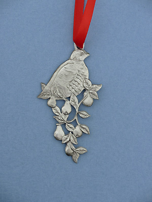 Partridge in a Pear Tree Christmas Ornament - Lead Free Pewter