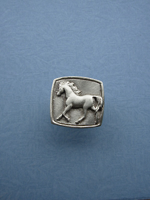 Running Horse Drawer Knob - Lead Free Pewter