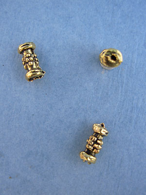 Small Dotted Tube Bead - Gold Plt. - Base Metal