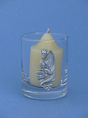 Sitting Dragon Votive Holder - Lead Free Pewter