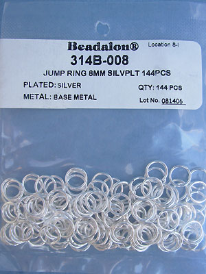 8mm Silver Plated Jump Rings - Gross - 144 pcs.