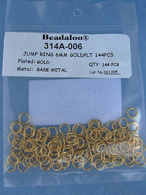 6mm Gold Plated Jump Rings - Gross - 144 pcs.