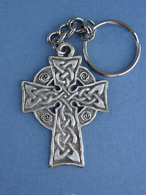 Meditation Cross Keychain - Lead Free Pewter
