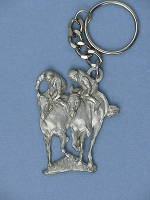 Jockey Double Keychain - Lead Free Pewter