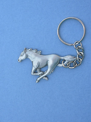 Mustang Keychain - Lead Free Pewter