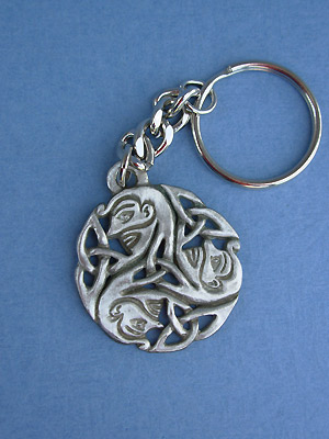 Wholeness Triskele Keychain - Lead Free Pewter