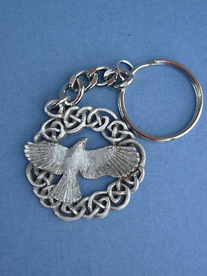 The Morrigan / Raven Keychain - Lead Free Pewter