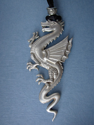 Dragon Lead Free Pewter Pendant c/w Cord
