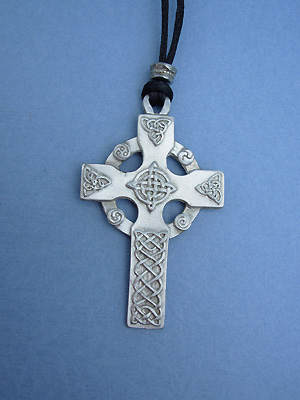 Celtic High Cross Lead Free Pewter Large Pendants c/w Cord