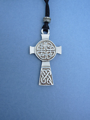 Protection Cross Lead Free Pewter Large Pendants c/w Cord
