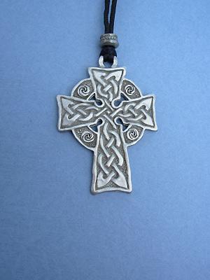 Meditation Cross Lead Free Pewter Large Pendants c/w Cord