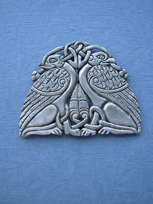 Double Griffin Brooch - Lead Free Pewter