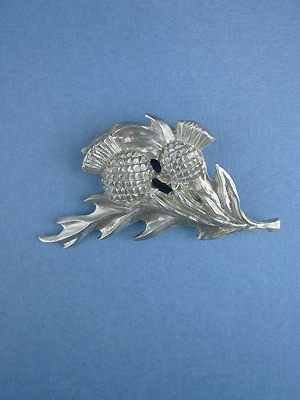Thistle w/ Two Flowers Brooch - Lead Free Pewter