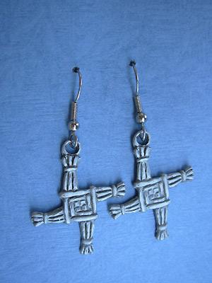Saint Brigid's Cross - Lead Free Pewter Dangle Earrings