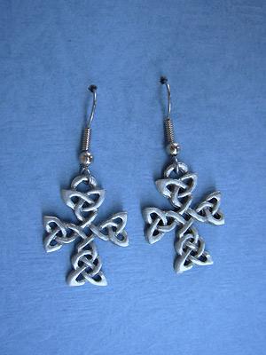 Cross Of Clarity - Lead Free Pewter Dangle Earrings