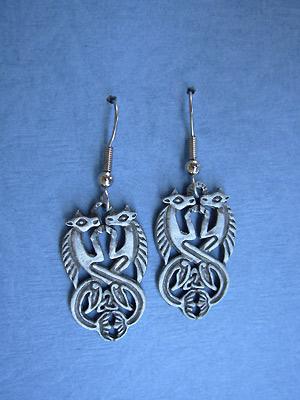 Aberlemno Seahorses - Lead Free Pewter Dangle Earrings