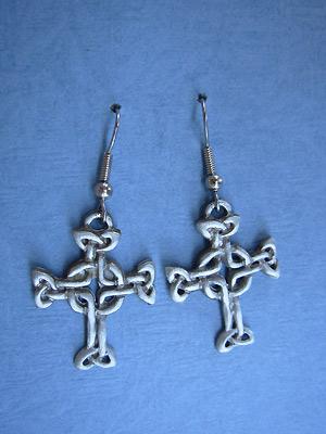 Lendlefoot Cross - Lead Free Pewter Dangle Earrings