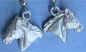3-D Horse Head - Lead Free Pewter Dangle Earrings