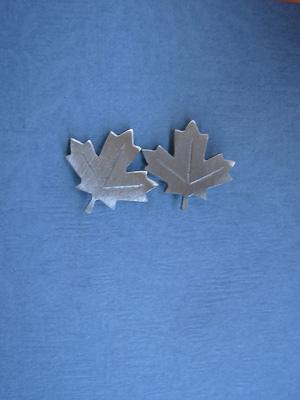 Stylized Maple Leaf - Lead Free Pewter Stud Earrings