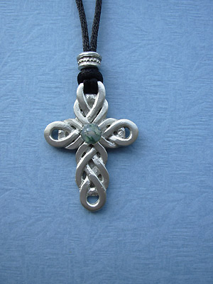 Double Celtic Cross Lead Free Pewter Medium Pendant c/w Cord w/ stone