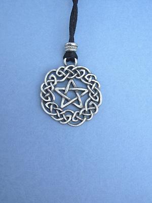 Celtic Pentagram Lead Free Pewter Large Pendant c/w Cord