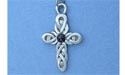 "Double Celtic Cross Lead Free Pewter Small Pendant c/w 18"" Chain w/stone"