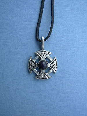 Triquetra Cross leather Cord Lead Free Pewter Small Pendant w/stone