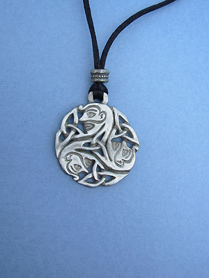 Wholeness Triskele Lead Free Pewter Large Pendant c/w Cord