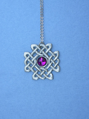 "Craftsman Charm with Purple Glass Lead Free Pewter Small Pendant c/w 18"" Chain"