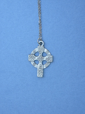 "Celtic High Cross Lead Free Pewter Small Pendant c/w 18"" Chain"