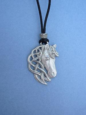 Epona / Horse Lead Free Pewter Medium Pendant c/w Cord