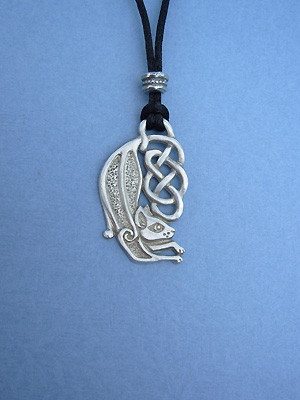 Celtic Cat Large Lead Free Pewter Medium Pendant c/w Cord