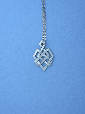 "Geometric Magic Knot Lead Free Pewter Small Pendant c/w 18"" Chain"