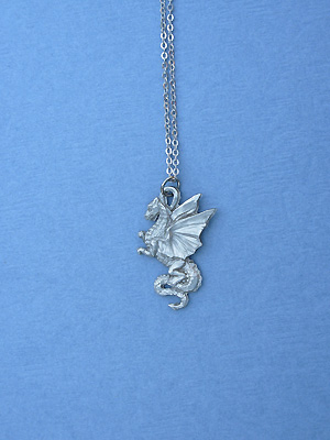 "Sm. Dragon Lead Free Pewter Pendant c/w 18"" Chain"