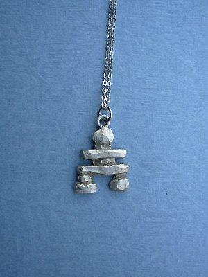 "Inukshuk Lead Free Pewter Pendant c/w 18"" Chain"