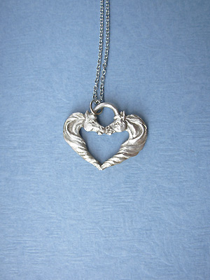 "Horse Heart Lead Free Pewter Pendant c/w 18"" Chain"